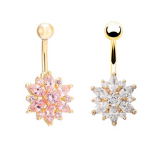 High quality Medical Steel Crystal Rhinestone Belly Button Ring Dangle Navel Body Jewelry Piercings Tassel Free