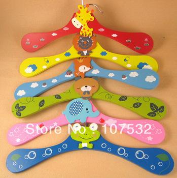 Free shipping New Cartoon Animals Wooden kids Clothes Hanger baby children hanger 6 styles wholesale