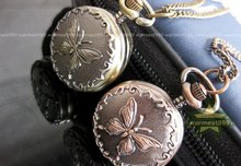 Free shipping 40pcs/lot Vintage Bronze  Quartz fashion butterfly  Pocket Watch Xmas Gifts