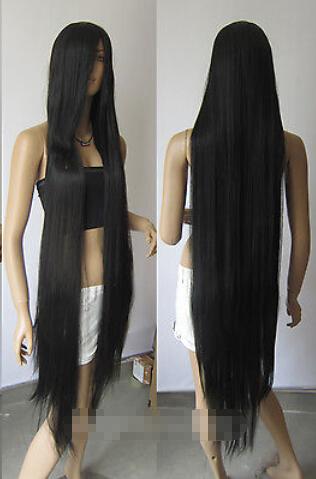 130cm Long Black Heat-resistant fiber Straight Cosplay Hair парик термоустойчивый fibers Hair wigs Shipping