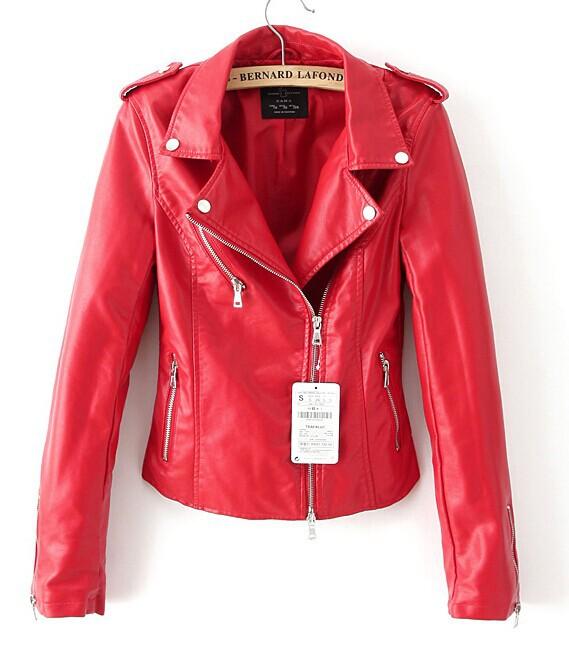 Женские кожаные красные куртки