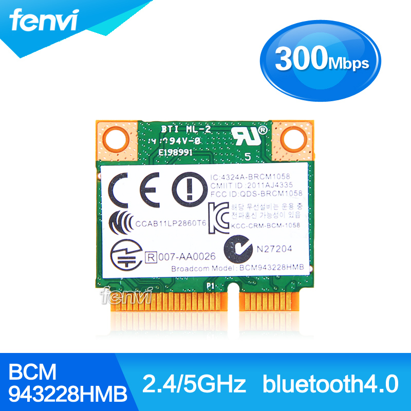 Dual Band Broadcom BCM943228HMB 802.11a/b/g/n 300Mbps Wifi Wireless Bluetooth 4.0 Half MINI pci-e Card Notebook Wlan 2.4Ghz 5Ghz(China (Mainland))