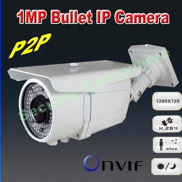 H.264 ONVIF 720P 1.0 Megapixel P2P HD Cloud Bullet Weatherproof IR Light Three Streaming IP camera(China (Mainland))