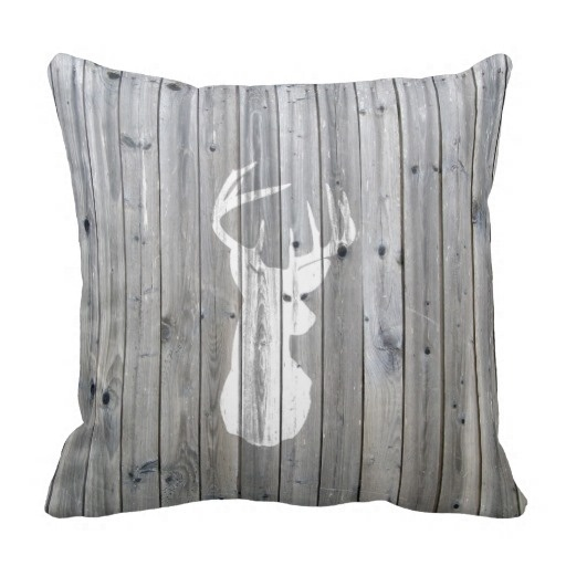 Worse Hipster Vintage White Deer Head On Gray Wood Pillow Case (Size: 20