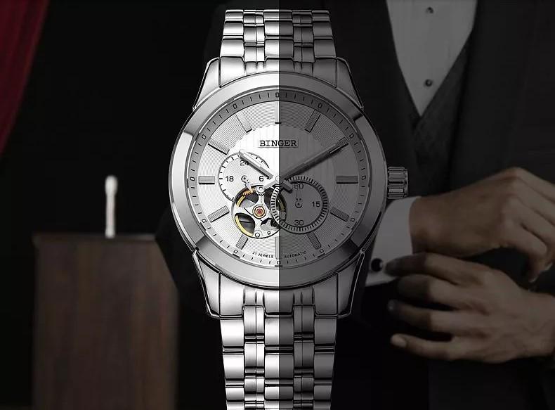 2016 Горячие Продаж Мужчины Часы Лучший Бренд Бингер Роскошные Наручные Часы Военные Стали Спортивные Авто Часы Из Розового Золота Relogio Masculino
