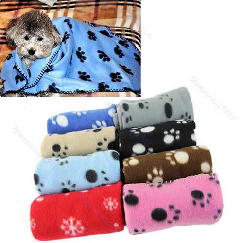 Hot Sale Lovely Design Pet Dog Cat Paw Prints Fleece Couture Blanket Mat New Free Shipping(China (Mainland))