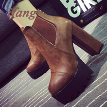 2016 Sexy Ultra High Heels Shoes Woman Martin Boots Female Round Toe Martin Boots 9cmThick Heel Platform Women Shoes Ankle Boots