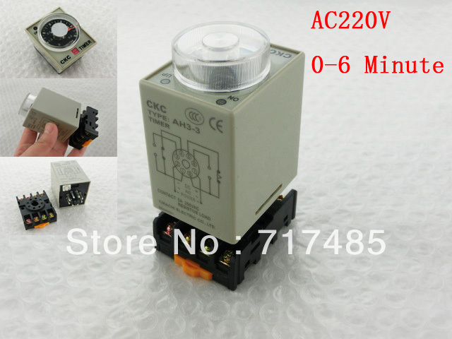 220VAC Power on Delay Timer Time Relay 0-6M AH3-3 5A With Base 100% Original<br><br>Aliexpress