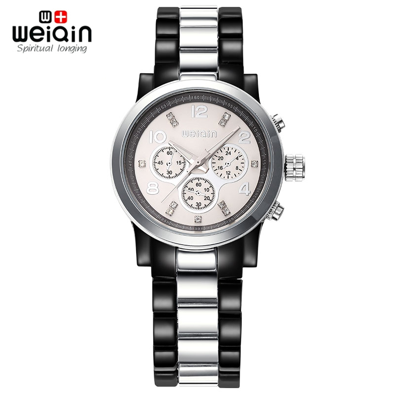 WEIQIN Waterproof Women Watches Rhinestone Black Silver Fashion Watch Female Brand Analog Wristwatches Lady relogio feminino(Hong Kong)
