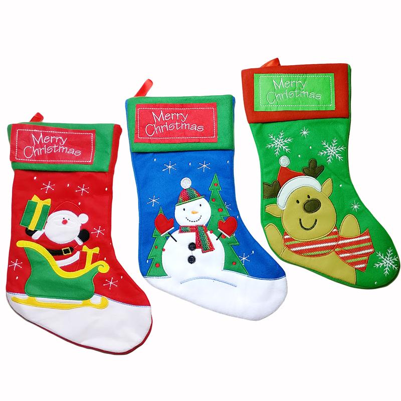 2pcs Thicken Christmas Stocking Decoration Santa Claus Snowman Deer Christmas Gift Candy Bag Indoor Xmas Decor Sock Discount(China (Mainland))