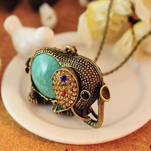 High Quality Fashion vintage jewelry accessories bohemia long design retro gem rhinestone elephant necklace pendant for