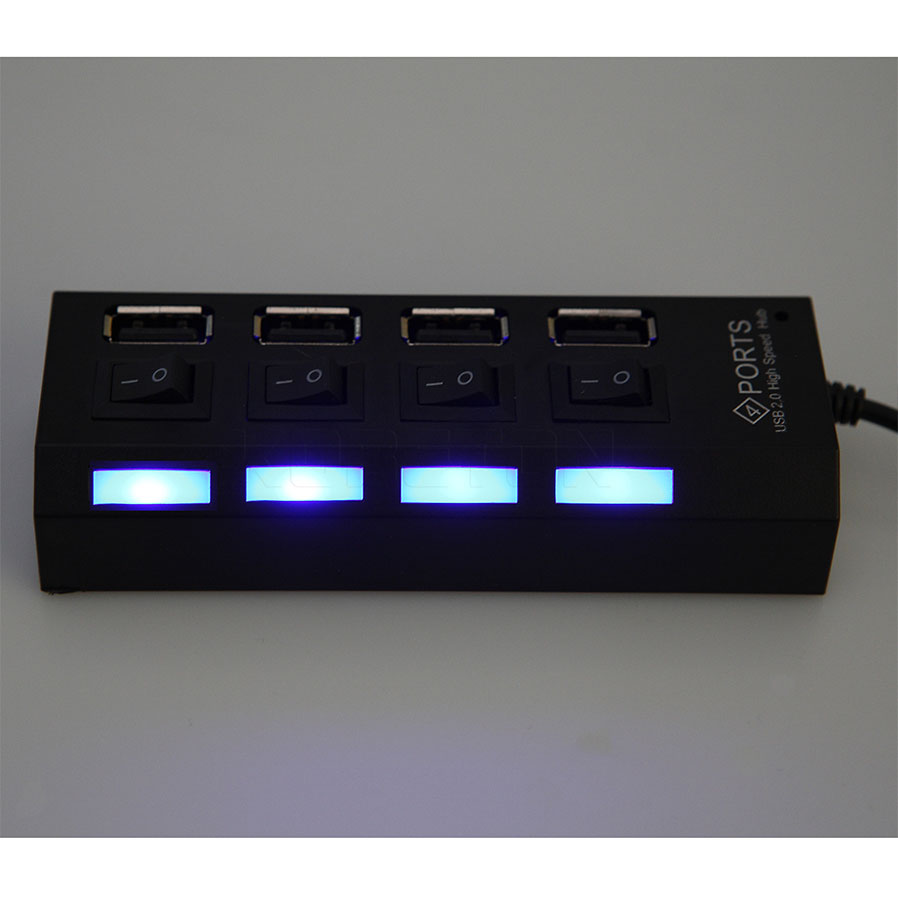 2017 New 4 Ports USB 2.0 Hub LED USB Hub With Power on/off Switch Cable High Speed For Laptop PC