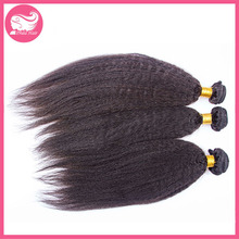 Grade 7A Chinese Kinky Straight Hair Weave Natural Color Coarse Yaki Hair Bundles 3Pcs Lot Unprocessed Human Hair Extensions(China (Mainland))