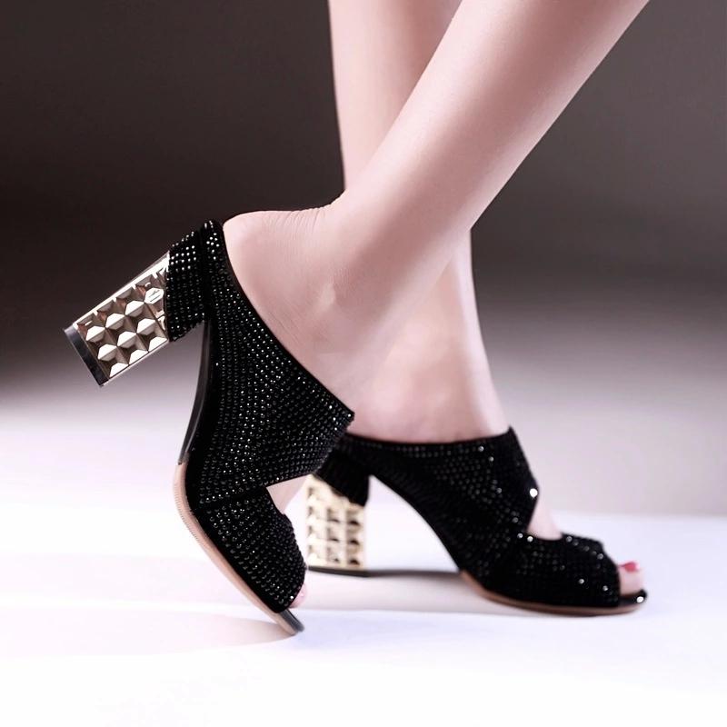 New Summer High-Heeled Fish Head Slippers Thick Heeled Diamond Shoes Korean Sexy Hit Color Sandals Sandalias Femininas S1857(China (Mainland))