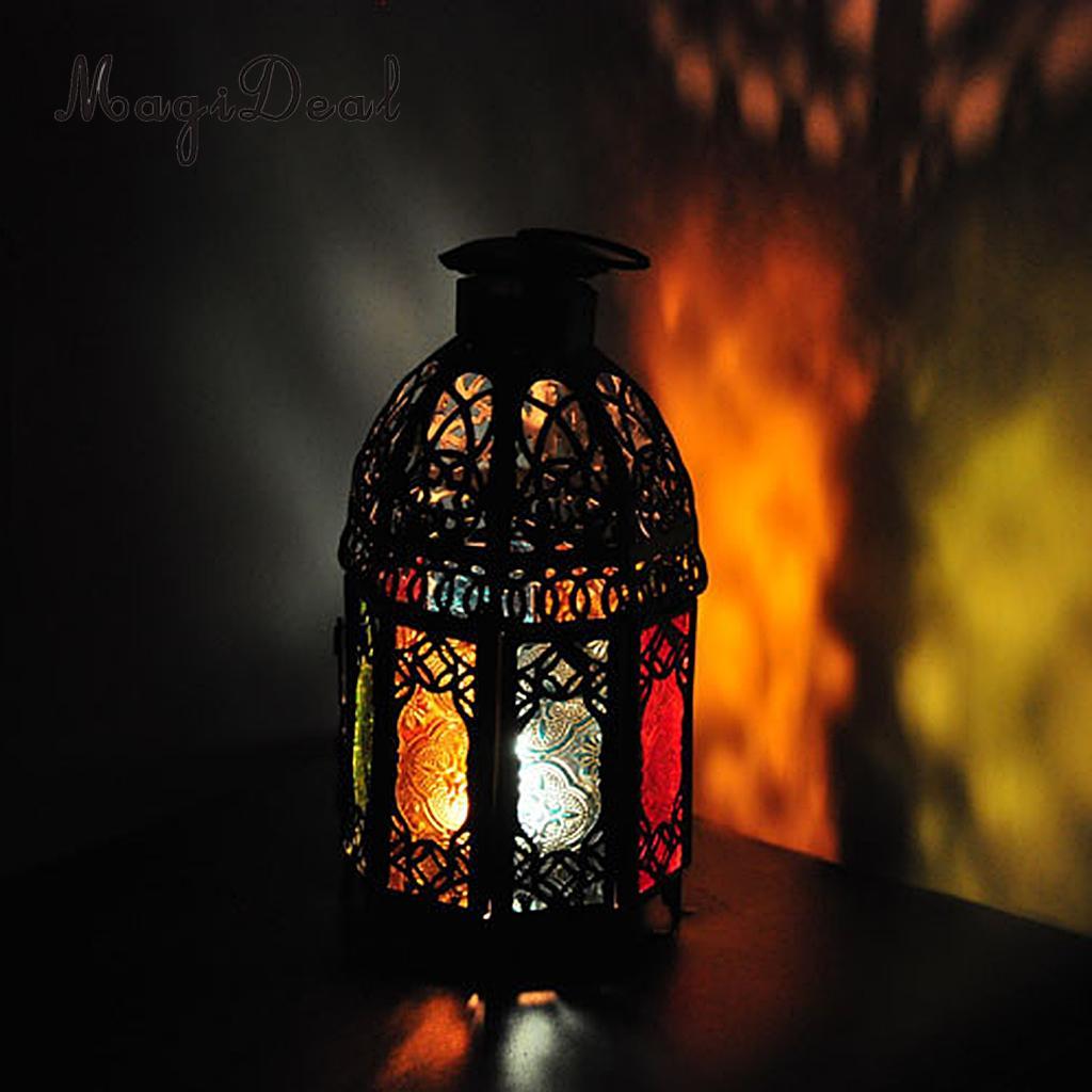 MagiDeal  Shabby Chic Morrocan Lantern Candle Holder Home Decor Pub Bar Cafe Table Centrepiece Wedding Decor