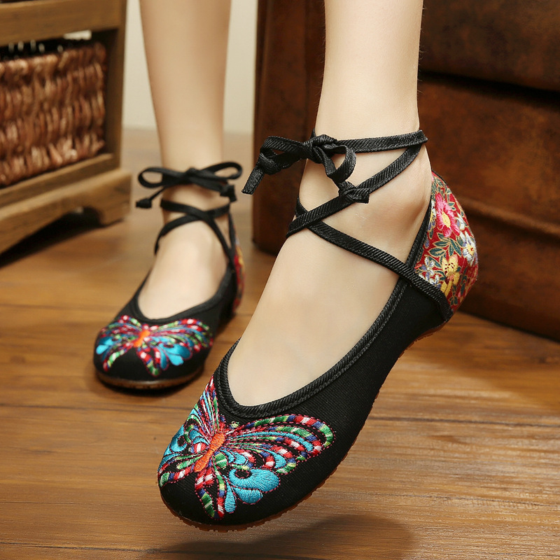 SMYXHX-10031 Brands Fashion Old Peking Butterfly Embroidery Shoes Chinese Style Flats Mary Janes Casual Soft Sole Dance Shoes<br><br>Aliexpress