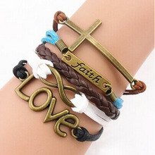 2015 Drop Shipping& Wholesale, Handmade Adjustable Cross Multilayer Bracelet Women Girl Faith Heart Love Wristband Promotions(China (Mainland))