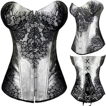 Sexy Lingerie Jacquard Lace up Corset Top Underwear Waist Trainer Fat Burner And Weight Loss Plus Size S-6XL Free Shipping(China (Mainland))
