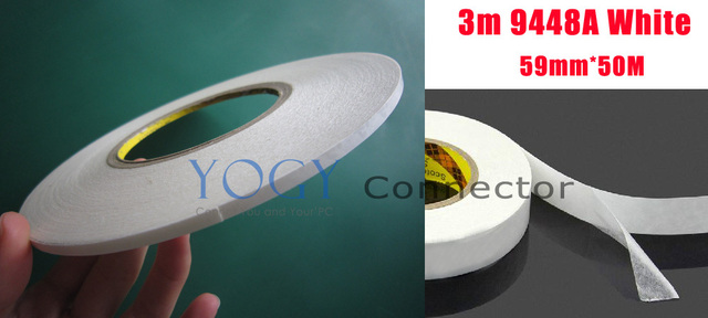1x 59mm 3M 9448a 2 Sides Stircky Tape for Phone LCD /Touch Pannel /Dispaly /Screen Housing /Case Repair White