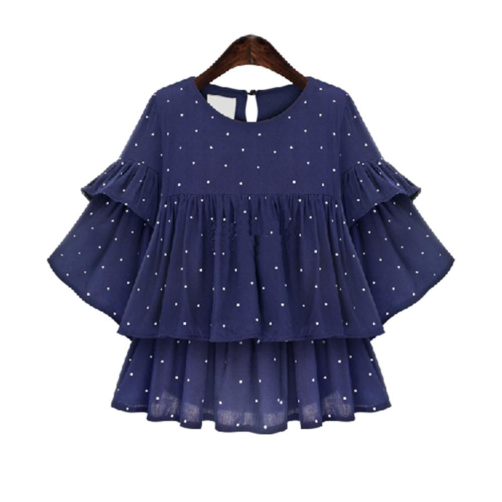 Women's Polka Dot Ruffle Sleeve Double Layers Chiffon Blouse Casual Chiffon Shirts Fashion 5XL Plus Size CSY T0608(China (Mainland))