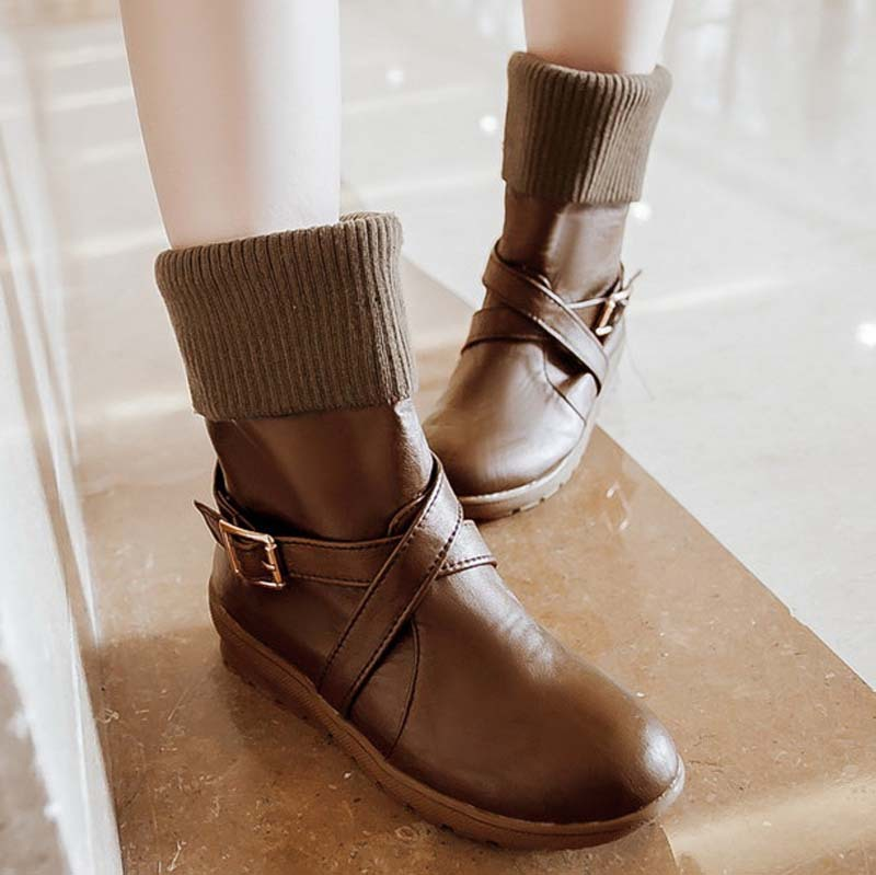 flats shoes motorcycle boots size Round Toe Buckle Flat with Soft Leather Ankle boots for women new 3 color Martin boots<br><br>Aliexpress