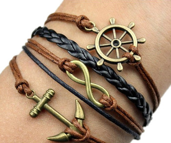 Handmade Braided PU Leather Cord Bracelet Vintage Sideway Alloy Ship Anchor Infinity Symbol Digit 8 Charm Bracelet