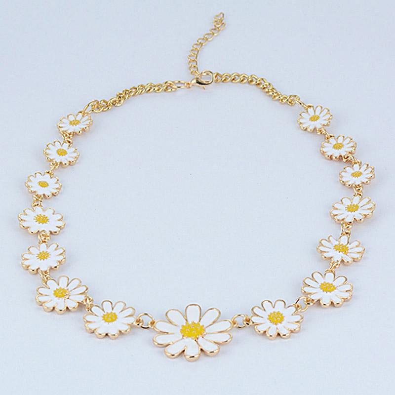 Nobel Women Gold Plated Flower Statement Choker Necklace Fashion Short Enamel Daisy Chain Necklaces colgantes de margaritas(China (Mainland))