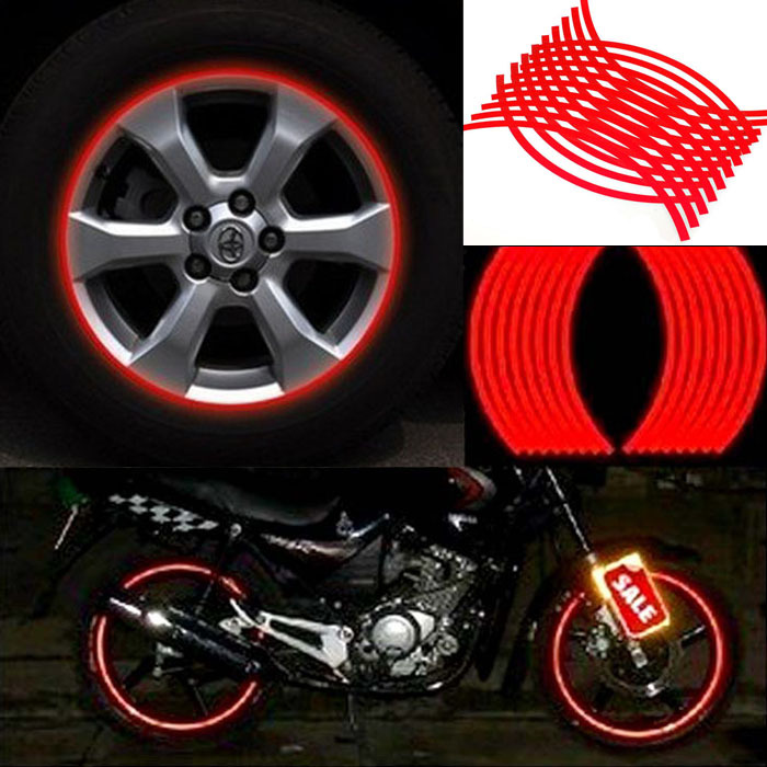 Automobiles Hot Sale Car Accessories 2015 Hot Sale Reflective Tire Stickers 18pcs Strips Motorcycle Car Wheel