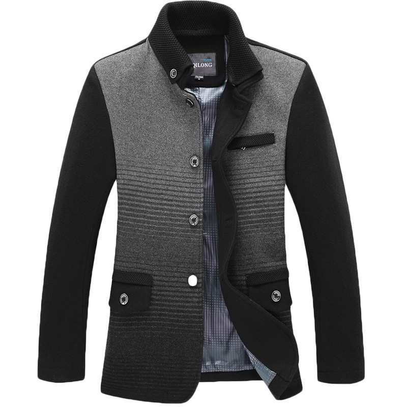 Здесь можно купить  2015 New Mens Pea Coat Winter Fashion Gray Slim Wool Blend Single Breasted Trench Coat Jacket Brand Design Overcoat Parka Coat  Одежда и аксессуары