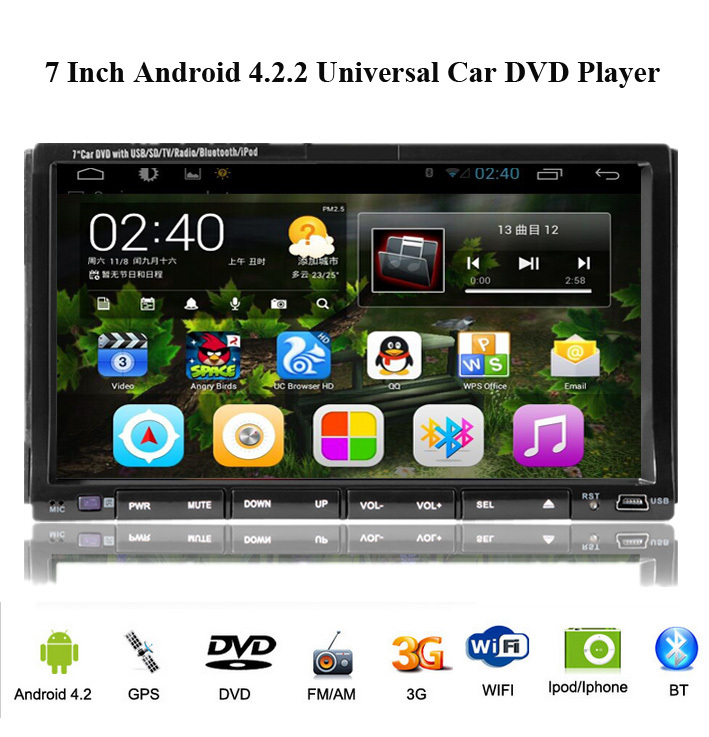 Double 11.11 SALE! 6.2 Inch Android 4.2.2 Din Car DVD Player GPS Navigation Video FM/AM Radio RDS BT wifi surfing on line Stereo()