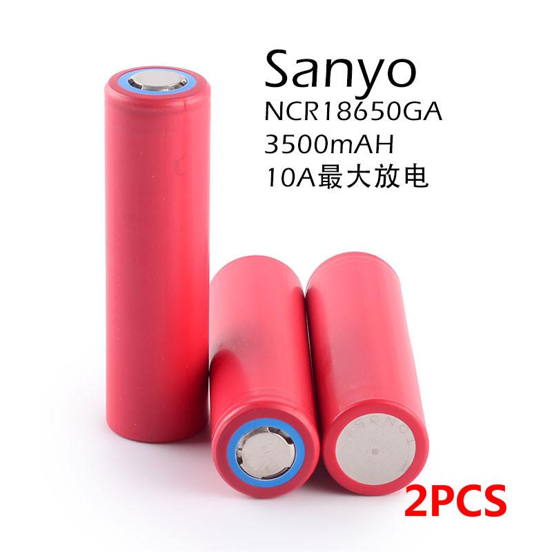 2PCS New Original Sanyo 18650 3.7V 3500mAh Rechargeable Lithium Battery NCR18650GA 10A Discharge(China (Mainland))