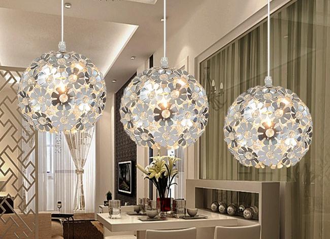 led light Beautiful Silver Flower Crystal pendant lights Fixtures Aluminum Hanging Pendant Lamp Crystal Light for Dining Bedroom<br><br>Aliexpress
