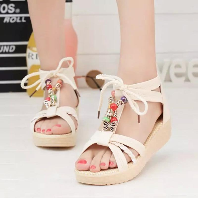 Bohemia style Women shoes sandals 2016 New Arrivals fashion Beaded Summer Wedges sandals Women <br><br>Aliexpress