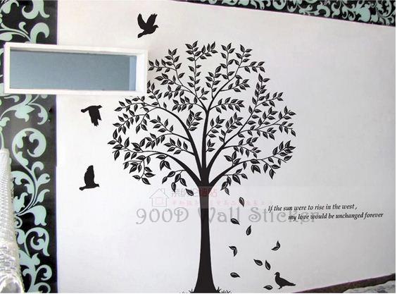 Wall Art Tree Diy : Tree wall stickers home decoration diy and birds