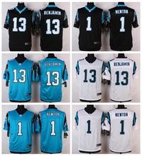 Carolina Panthers #13 Kelvin Benjamin #1 Cam Newton Elite Elite White Blue Alternate and Black Team Color free shipping(China (Mainland))