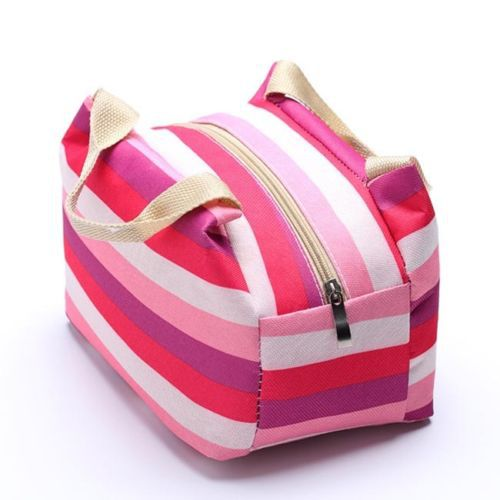 1 Unisex Women Men Portable Striped Thermal Insulated Lunch Box Case Picnic Cooler Zipper Storage Fresh Bags With Zipper Pocket