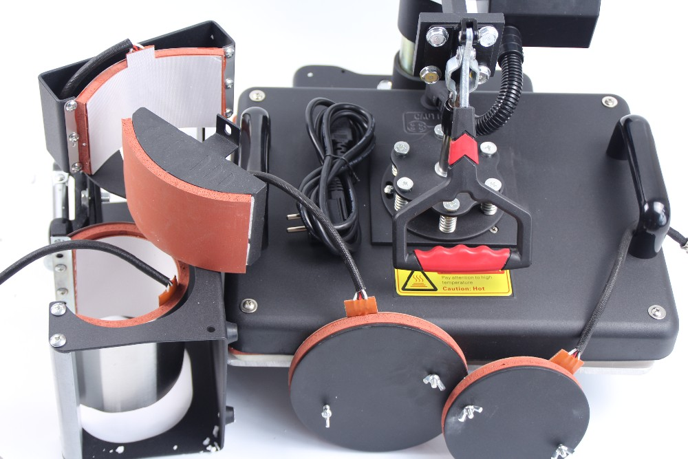 Купить Бесплатная Доставка 7 в 1 Combo передачи Тепла Сублимации Машина для кружка Футболки закрывающей пластины печать 110 В/220 В напряжение