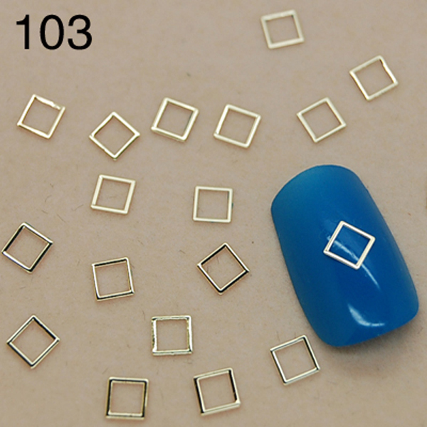T103 800pcs/lot Gold Hollow Square Shape /Other Shape is Available/ 3D Metallic Stickers Nail Art/ For DIY Decorations(China (Mainland))