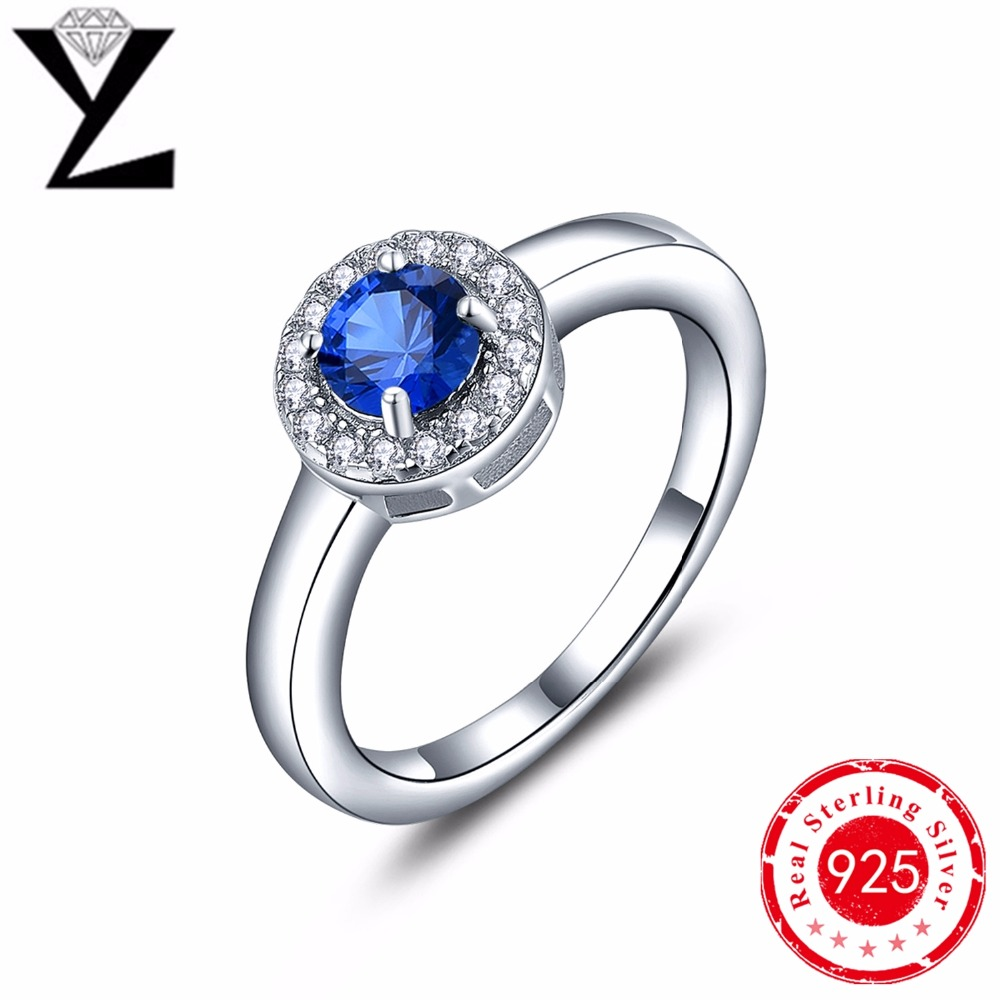 Romantic 925-Sterling-Silver Rings Women Blue Sapphire Crystal Main Stone AAA CZ Diamond Rings Sterling-Silver-Jewelry Wholesale(China (Mainland))