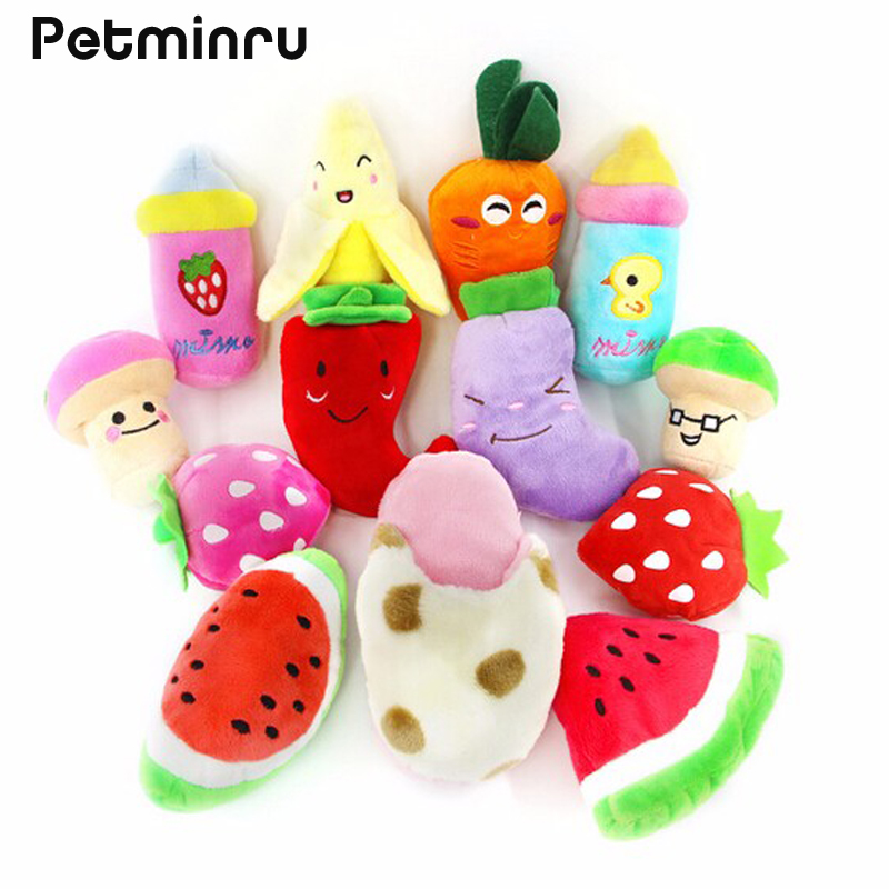 Petminru 3PCS Pet Puppy Chew Squeaker Squeaky Plush Sound Fruits Vegetables And Feeding Bottle Toys Dog Toys(China (Mainland))