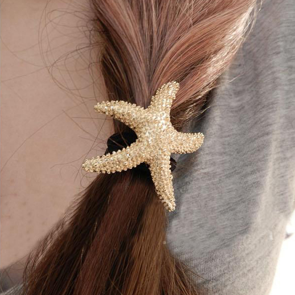 Hot Sale Fashion Gold Plated Alloy Starfish Rubber Bands Elastic Bands For Women Hair Accessories 2A015(China (Mainland))