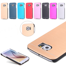 With Logo! Fashion Brush Skins Hard Aluminum Metal Armor Case For Samsung Galaxy S6 G9200 Slim Shockproof Accessories Cover S6