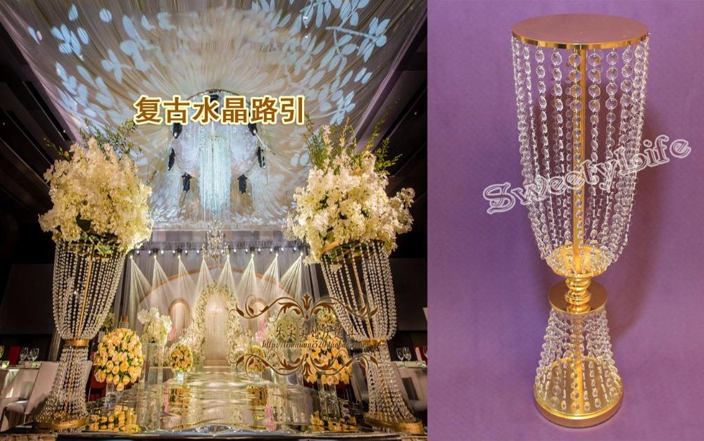 Gold wedding centerpiece acrylic bead strands cm tall