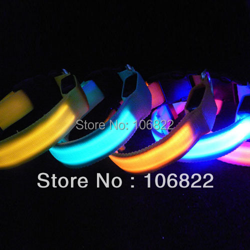 LED Nylon Pet Dog Collar Night Safety LED Light-up Flashing Glow in the Dark Lighted Dog Collars(China (Mainland))