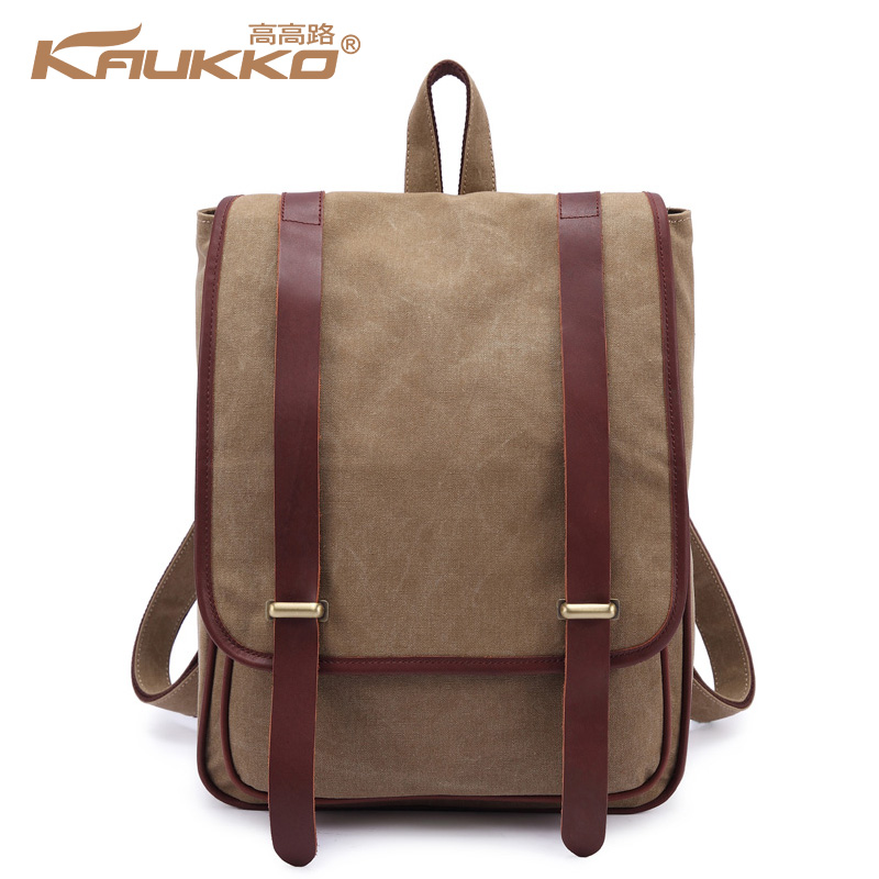 Kaukko canvas leather backpack school bag vintage backpack for unisex backpack and fashion travel bag ZP05<br><br>Aliexpress