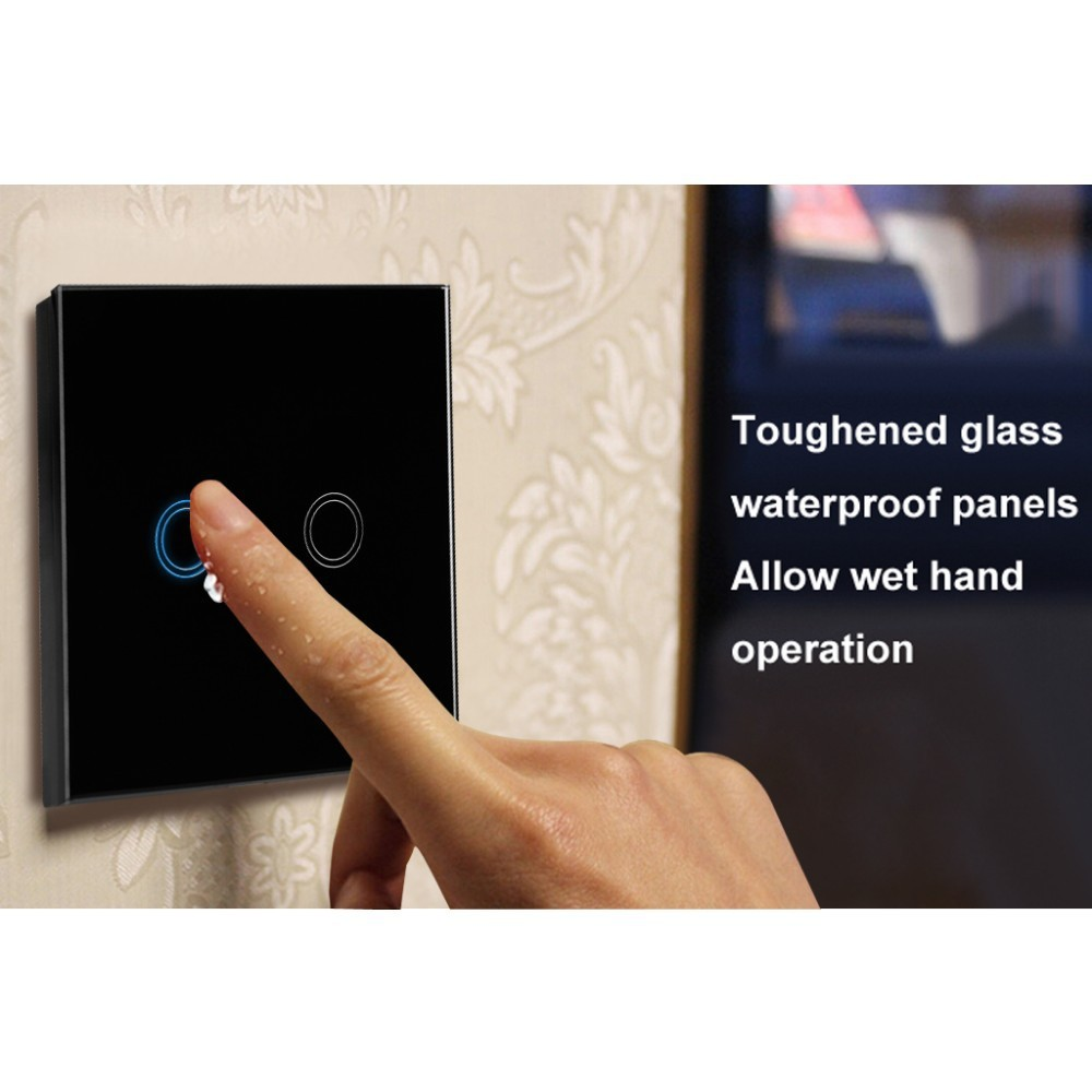 EU Standard Remote Control Touch Switch Remote Wall Light Switch With Cystal Glass Panel & LED Indicator,110~240v, Touch Switch