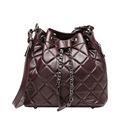 QIANGSHILI Brand Vintage Quilted Chain Genuine Leather Sheepskin Shoulder Bucket Bag Handbags Women Bags Designer High