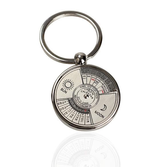 Free Shipping Classical Metal Compass Perpetual Calendar Keychain Key Ring E5M1