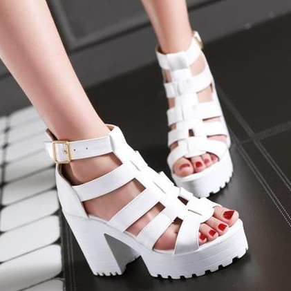 2016 new fashion gladiator women sandals thick high heels summer shoes platform black and white ladies shoes<br><br>Aliexpress