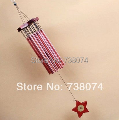 20 tube metal red paint wood five-pointed star wind chimes birthday gift fashion bell - New Wave Shopping store